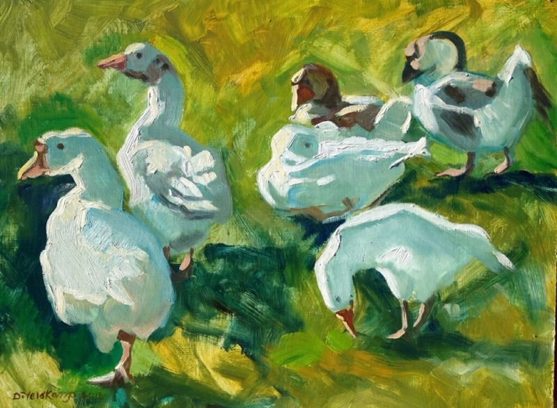 Geese and ducks at Laguna Lake, 18 x 24 inches, oil on panel