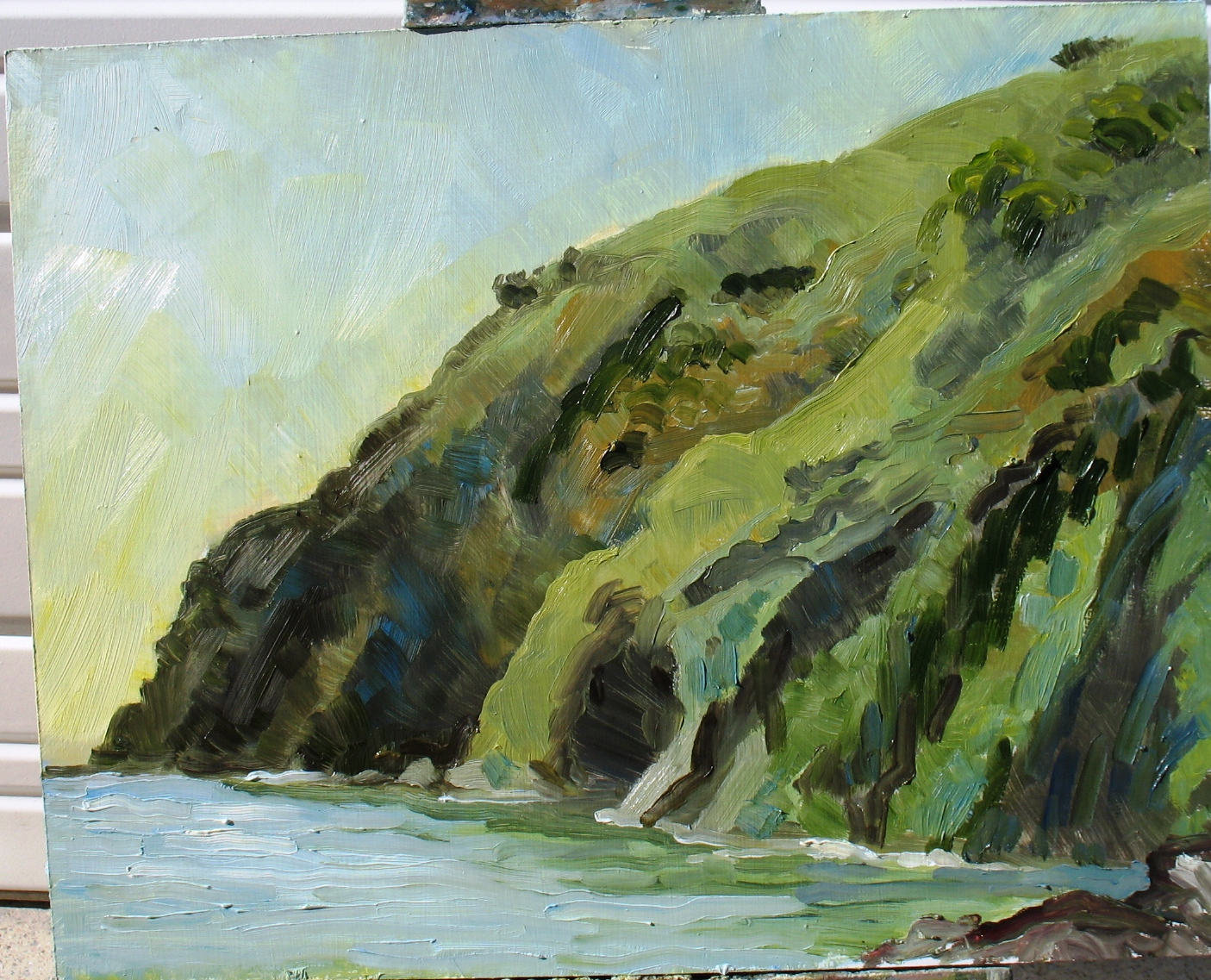 Avila Bay Looking North to Morning Sun, 16 x 20 inches, oil on panel, 2013
