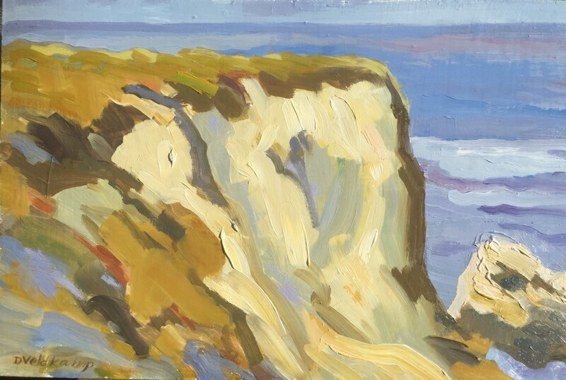 Bluffs at Spooners cove, 10 x 16 inches, oil on panel, 2012