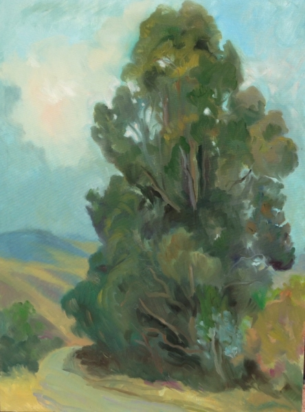 Eucalyptus on Hwy 41 oil on canvas, 40 x 30 inches