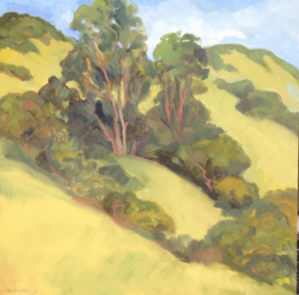 Eucalyptus up the hill 35 x 35 inches Oil on canvas - UNAVAILABLE