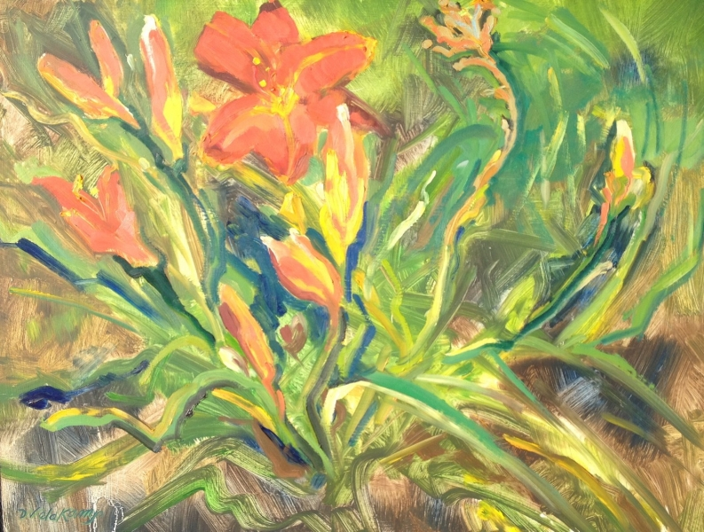 Landscape, Lily's in the garden, 20 x 24 inches oil on panel