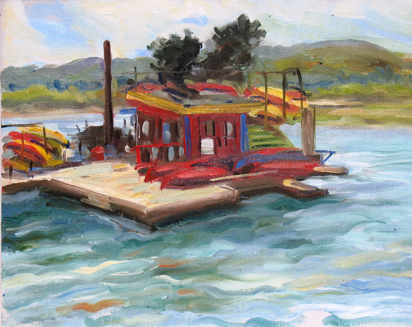 Morro Bay Kayak Shed, 16 x 20 inches, oil on canvas - UNAVAILABLE