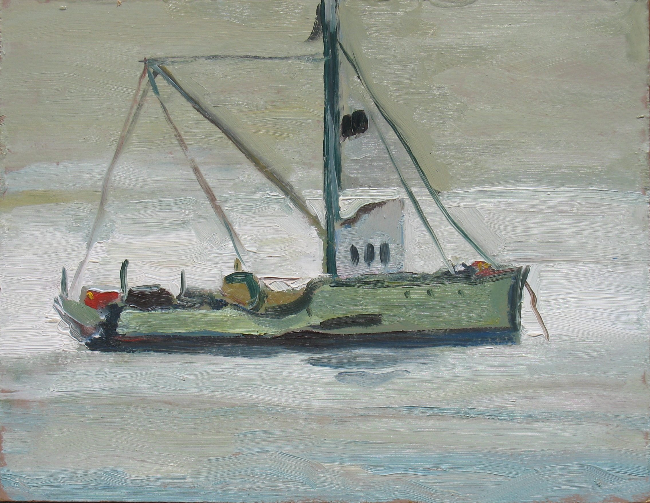 Morro Bay Fishing Boat Grey Fog, 7 x 9 inches, 2010 - UNAVAILABLE