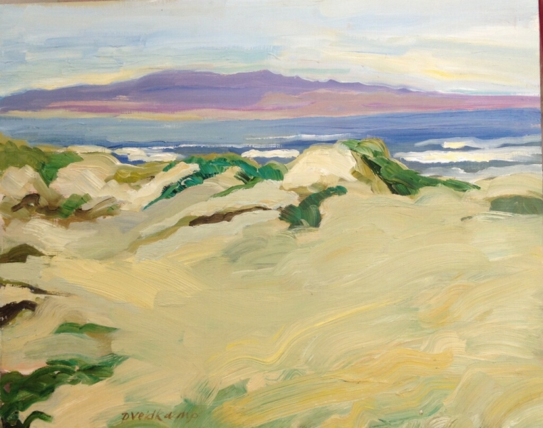 Oceano Dunes looking towards Point Sal, 16 x 20 inches, oil on board