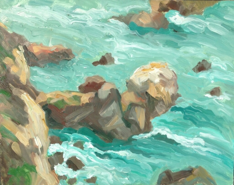 Rocky coast, oil on panel, 11 x 14 inches