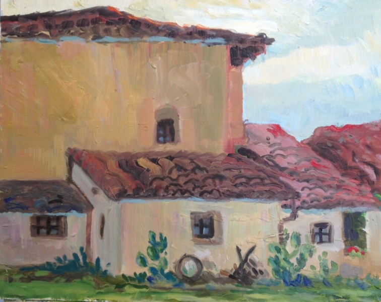 San Antonia Mission (backside) 16 x 20 inches, oil on panel