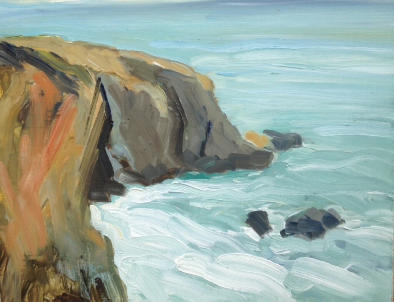 Shell Beach cove, 11 x 14 inches, oil on panel