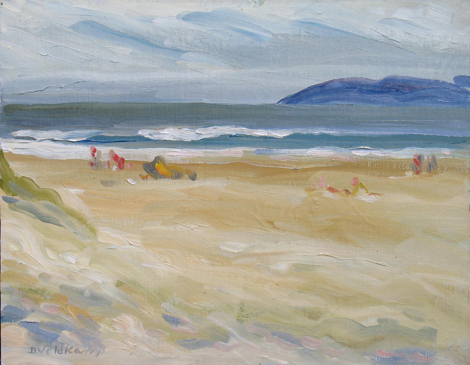 Summer day at the beach, 11 x 14 inches, oil on canvas, Deborah Veldkamp