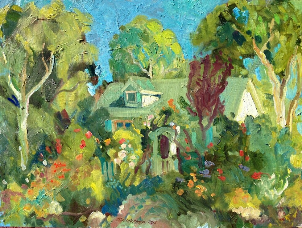 Templeton cottage garden, 18 x 24 inches, oil on panel - UNAVAILABLE