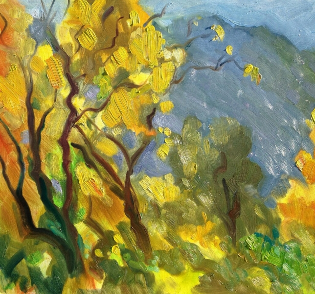 Yellow and orange in the canyon, 19 x 22 inches, oil on panel