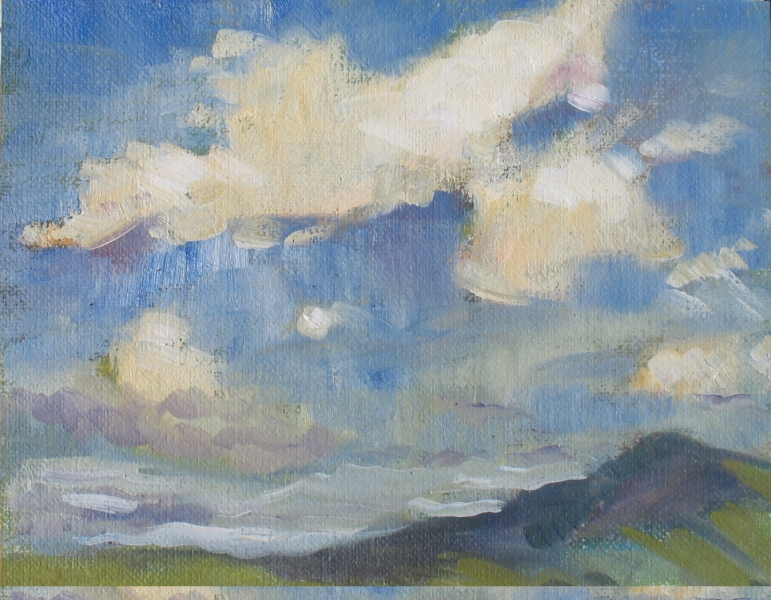 Clouds above Hills, oil on canvas mounted to board - UNAVAILABLE