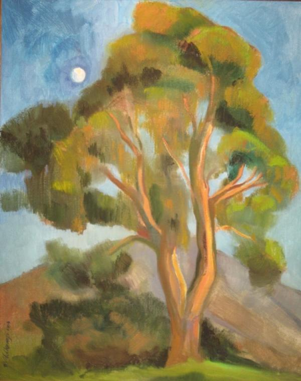 Eucalyptus Rising Moon, 36 x 24 inches, oil on canvas