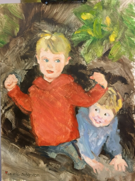 Boys for Matthew and Marla DeRuig, Oil on Panel, 24 x 18