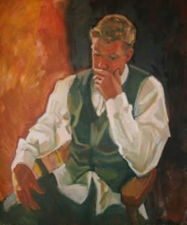 Rob in Irish Waistcoat, 36 x 30 inches, oil on panel - UNAVAILABLE