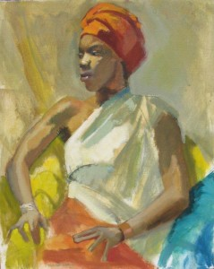 Portrait, African Queen, 36 x 28.5 inches, oil on canvas