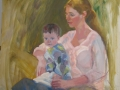 Mother and Child, Anna and Riley's Portraits, 36 x 36 inches, oil on canvas, 2011