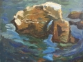 Seastack, 12 x 14, oil on paper