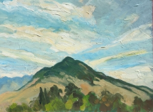 Cerro San Luis and diagonal clouds 18 x 24 inches Op