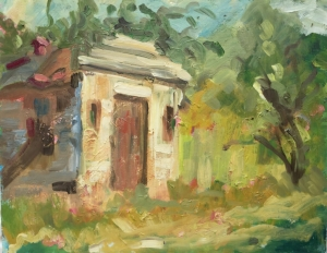 Old stone out building on ranch, oil on panel, 11 X 14 inches
