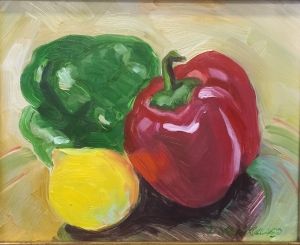 Peppers and lemon 8 X 10 inches Oil on panel