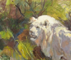 White Lion, 20x24, oil on panel