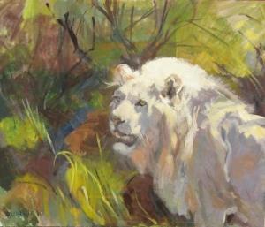 White Lion, 20x24, oil on panel