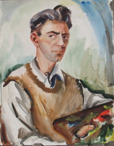 Portrait-self, by John Waddingham, 1946, watercolor, 21.5 x 17 inches